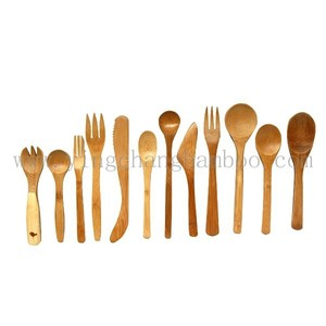 wooden Bamboo knife fork spoon set