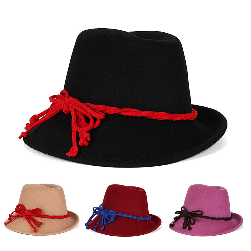wholesale black hats women fedora hat wool winter floppy hat winter hat  women chapeu fedora with daee558c6be3