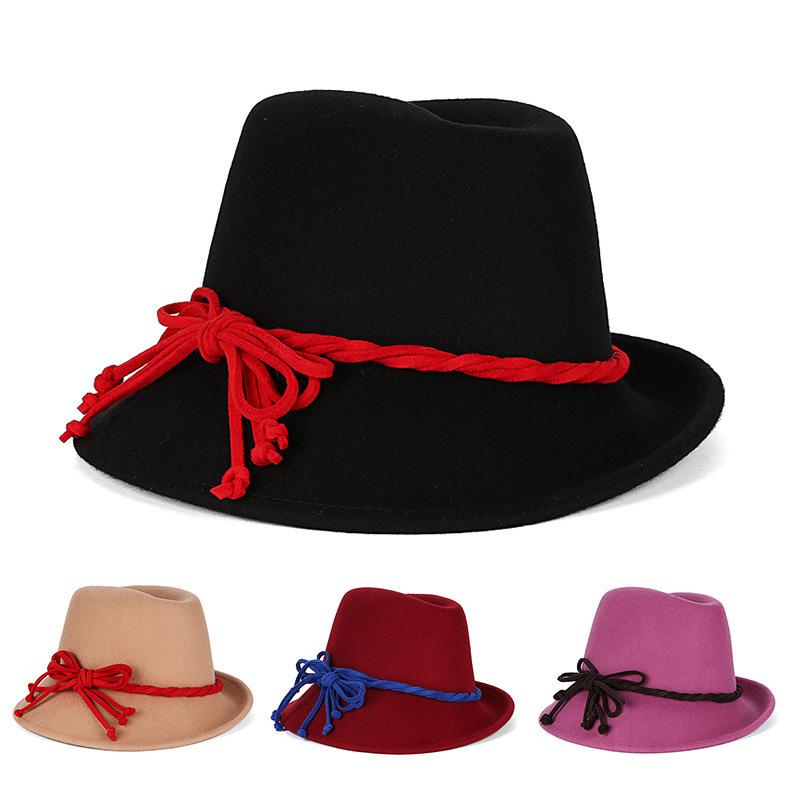 wholesale black hats women fedora hat wool winter floppy hat winter hat  women chapeu fedora with c22a5520361e