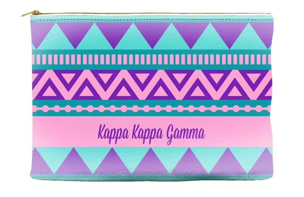 Kappa Kappa Gamma Tribal Pattern Purple Cosmetic Accessory Pouch Bag for Makeup Jewelry & other Essentials