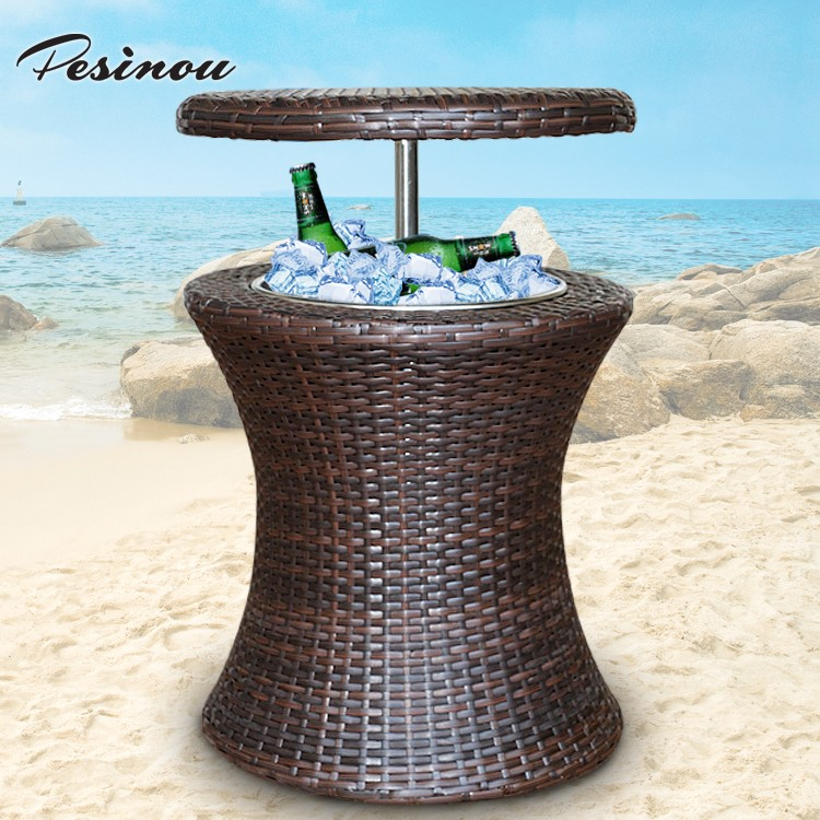 3000ml round stainless steel ice bucket in rattan baskets and beverage ice chest cooler storage