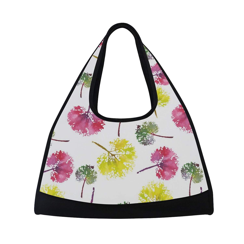 Sport Gym Bag Watercolor Colorful Leaf Canvas Travel Duffel Bag