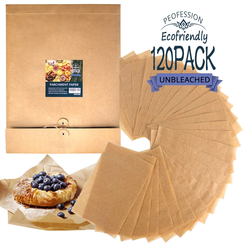 Unbleached Parchment Paper Baking Sheets - Pre-cut Half-sheet Non Stick Parchment kitchen cooking Paper Baking Cookie Wax Paper Sheets Exactly Fit for 12x16 Inch Half-Sheet Baking Pan (120 Pcs)
