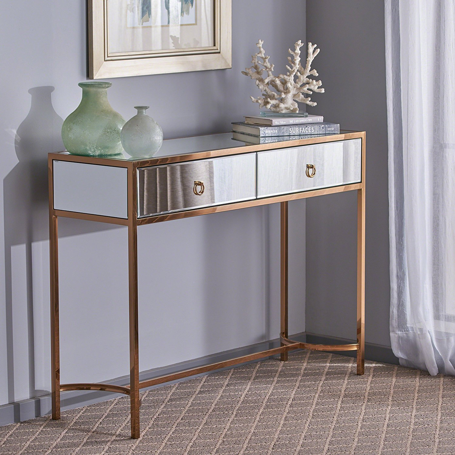 Get Quotations · Great Deal Furniture | Summerland | Modern Mirrored  Console Table With Finished Stainless Steel Frame |