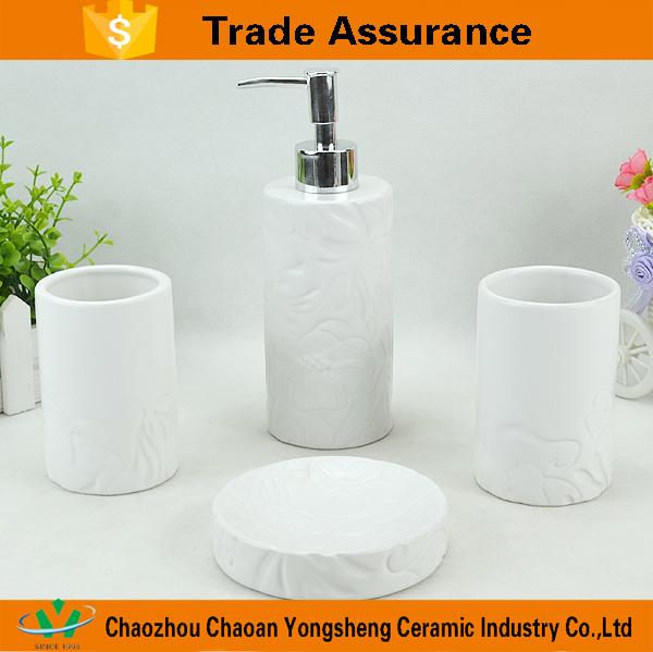 Hotel Bathroom Accessories wholesale matte white flower stoneware hotel bathroom accessories