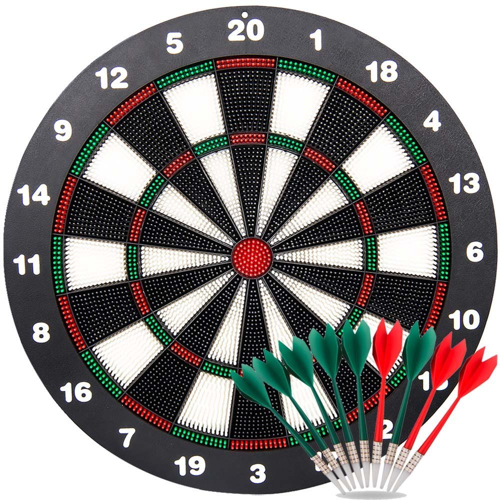Ylovetoys Safety Dart Board Set for Kids, 16.4 inch Rubber Dart Board Soft Tip Dartboard with 9 Soft Safety Darts, Great for Office and Family Time