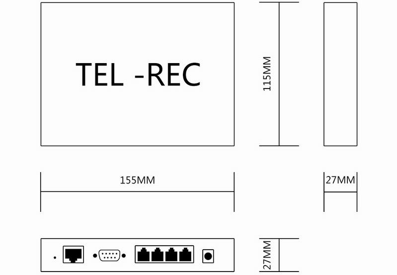 Portas de Rede Incorporado 2 Registro De Voz Digital, Gravador de Multi Linhas P2P Standalone Nuvem Call Logger Gravação via CMS