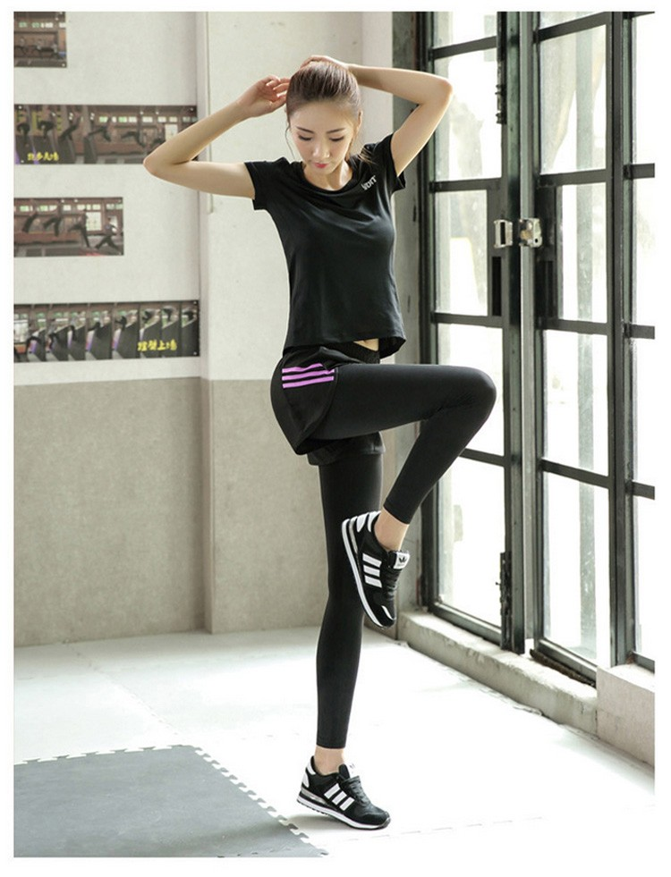 Autumn Winter False Two Pieces Yoga Sport Pants Quick Dry Women Fitness Running Leggings