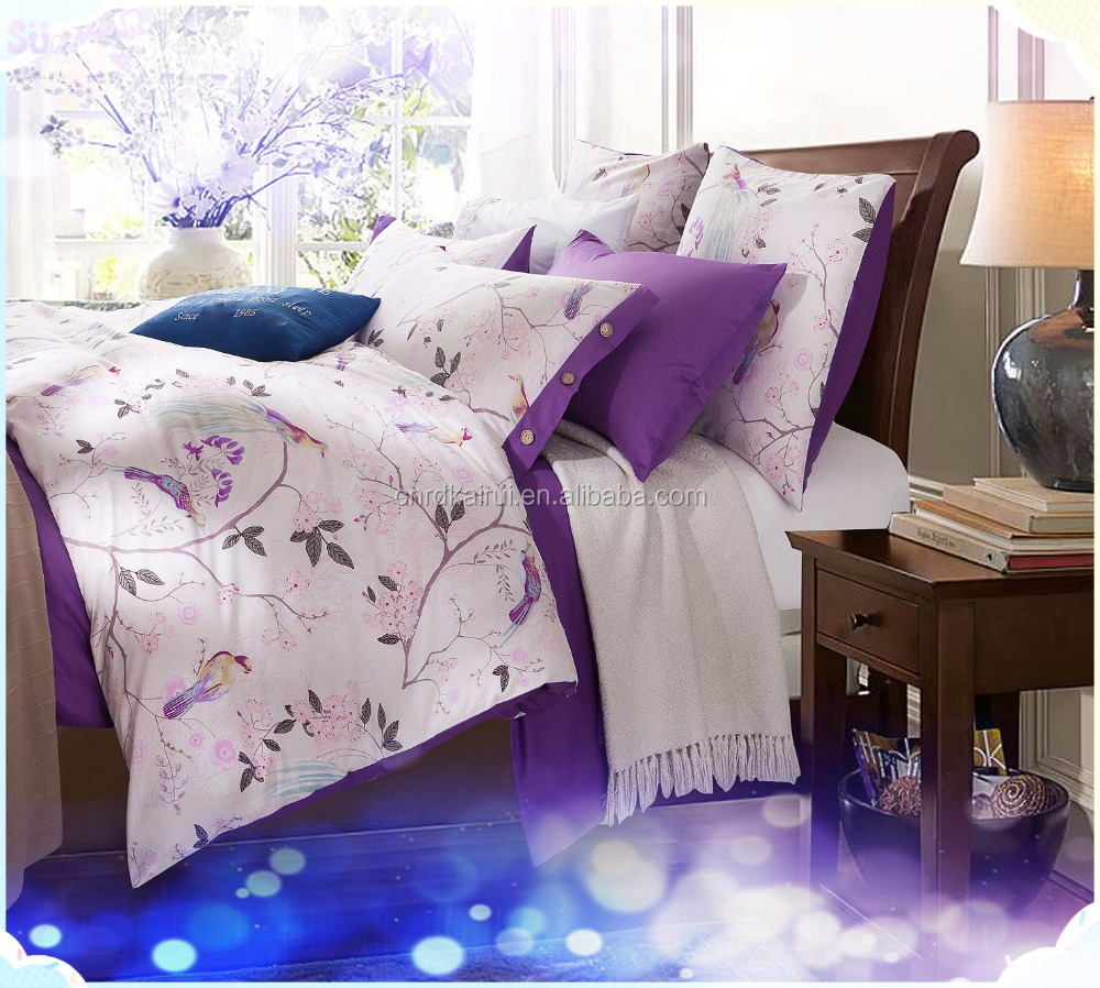 Nantong New Designs Elegant Flower Printing cotton Colorful 3d hotel bed sheet/3d bed cover set/bedsheet for sale