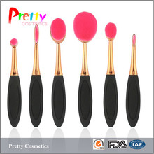 Wholesale 6pcs oval toothbrush makeup brush sets sufficient supply in stock