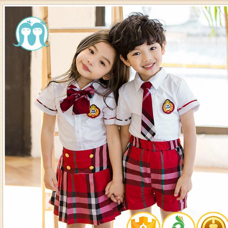 0465f140443b0 Nuevo verano privado niñas uniforme escolar falda a cuadros diseño  personalizado uniformes escolares de Kindergarten Escuela