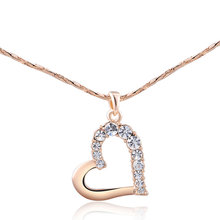 New Arrivals 2018 Online Shop China Rose Gold Czech Stone Heart Alloy Necklace Jewelry