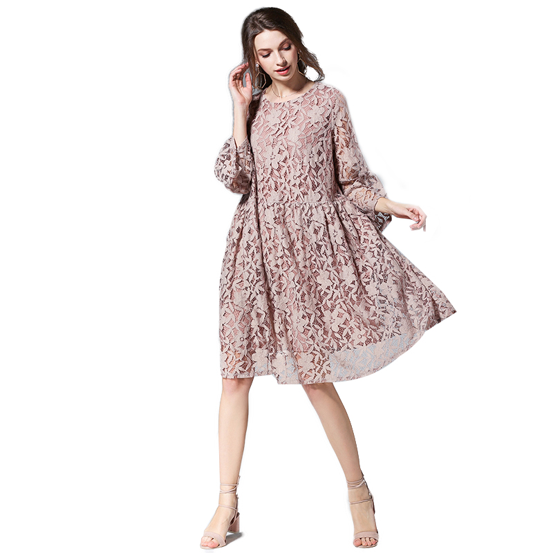 2018 Fashion New Design Women Summer Lace Trumpet Sleeve Loose <strong>Dress</strong>