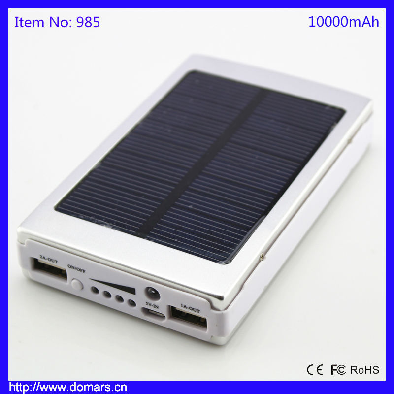 10000mAh Solar Panel Charger Waterproof 2 USB Power Bank for phone 6 smartphone