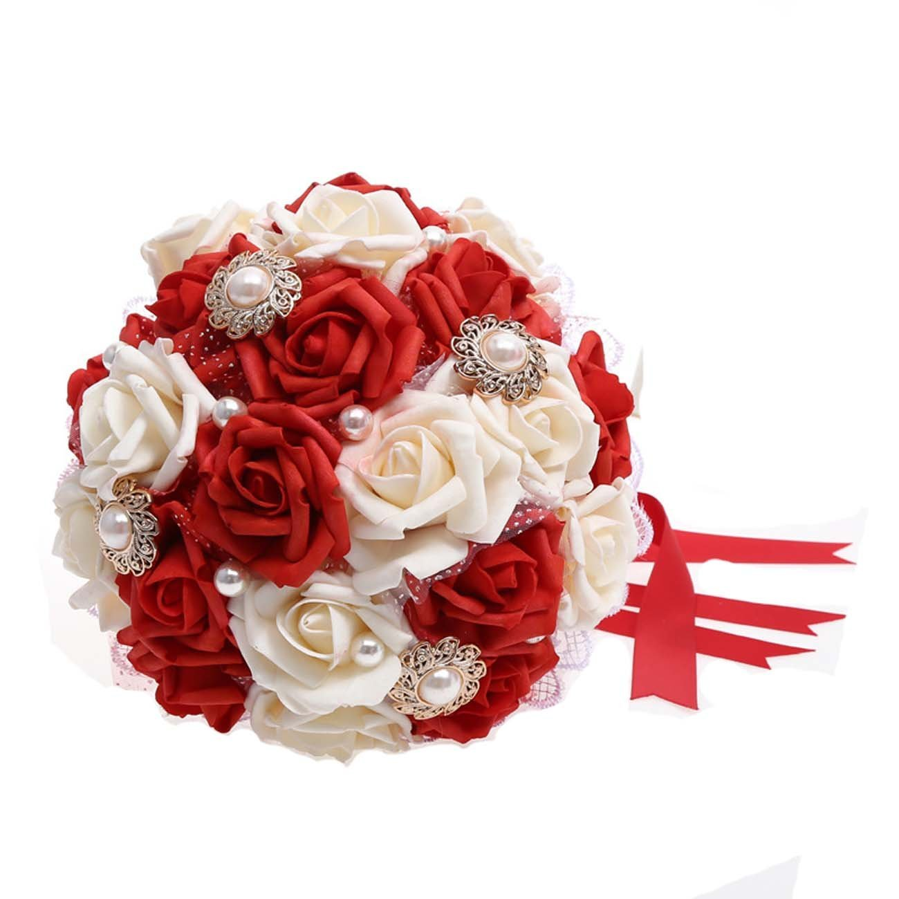 Cheap red white black wedding bouquets find red white black wedding get quotations alicehouse french rose artificial holding wedding bridesmaid bouquet toss bridal bouquets awf015 red white mightylinksfo