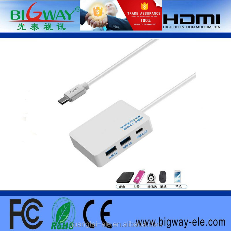 2017 hot sale Wholesale New Design Type C to 3 Ports combo usb hub 3.0 high speed tf card reader