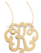 Swirly Initial Necklace, Art Letter K Pendant Necklace