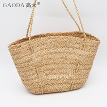 Summer hand knitted natural raffia straw beach bags