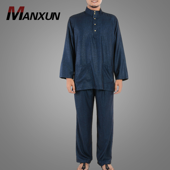 Gentle Style Muslim Men's Clothing Hot Selling Casual Tops With Pants Latest Kurta Designs Plain Baju Suit