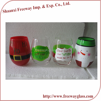 Wholesale Custom Hand Painted Colored Stemless Glass Wine