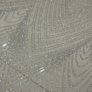 Wholesale sparkling silver sequined tulle lace glitter fabric for wedding party dress