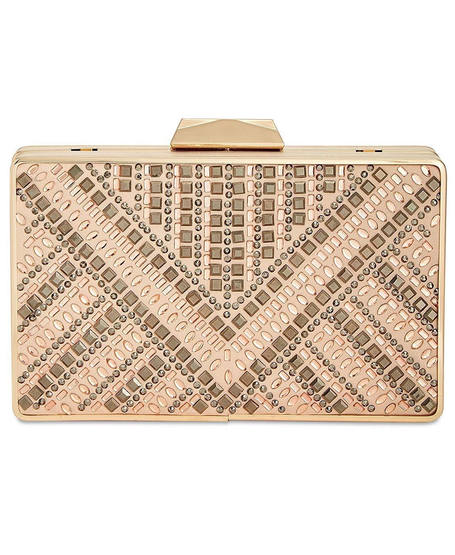 b3ea88765d Get Quotations · Inc International Concepts Marisoll Mini Box Clutch Rose Gold  Evening Bag