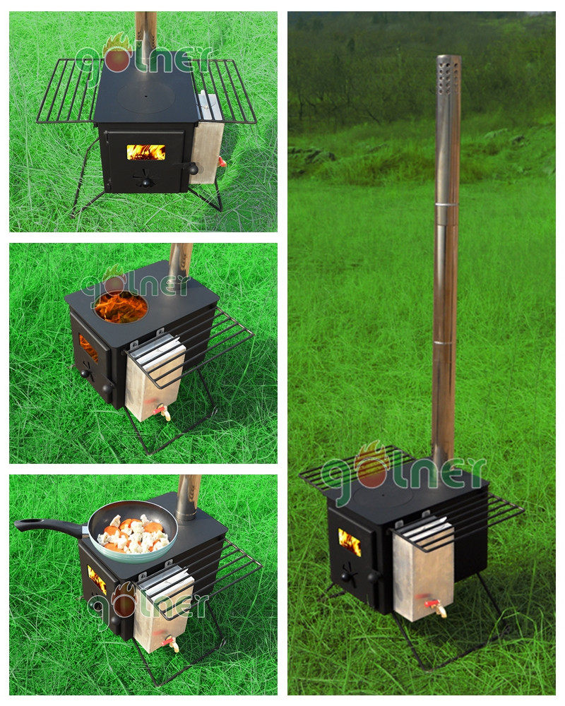 C 11 outdoor cooking camping stainless steel folding wood for Outdoor wood cooking stove