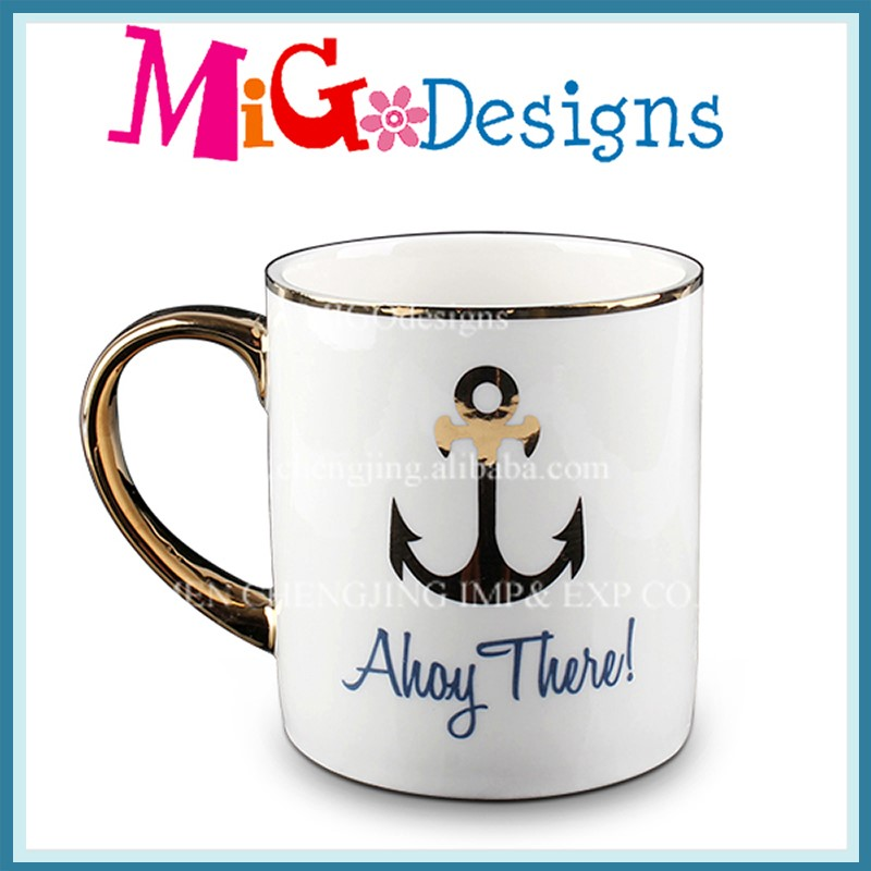 China Import Items Decor For Home Gold-Plated ceramic mug Ocean Style Design Can Customise Mug Sublimation Ceramic