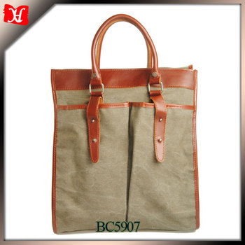 High Quality Canvas Leather Bag Wholesale Canvas Tote Bag Leather ...