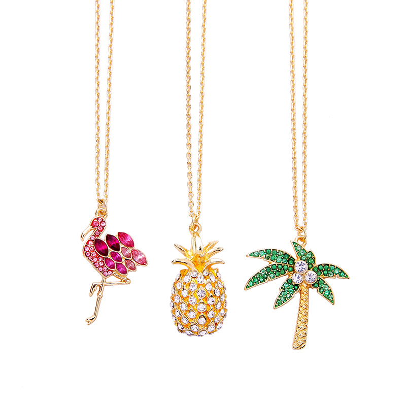 Xl02145c Ins Style Flamant Rose Cristal Pendentif Colliers, Ananas Pendentifs Bijoux
