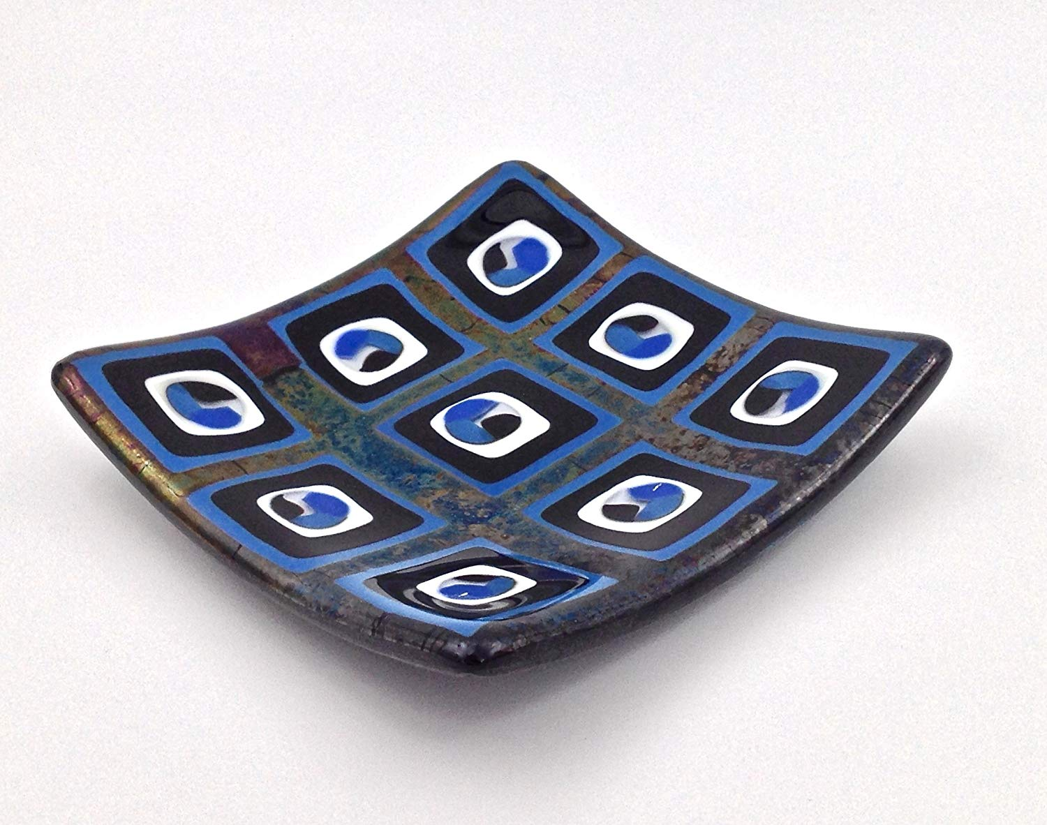 """6"""" Handcrafted Blue, Black & White Mid-Century Modern Fused Glass Decorative Plate"""