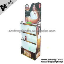 Fashion Single Side 4-tier Light Weight PVC Plastic Modular Cosmetics Floor Displays Stand For Merchandising Store