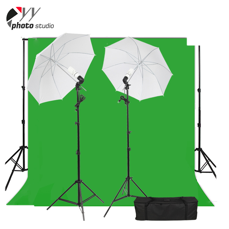 Photography Chromakey Green Screen Background Photo Backdrop Light  Stand+umbrella+bulb+holder Accessories Kit - Buy Photo Studio Green Screen