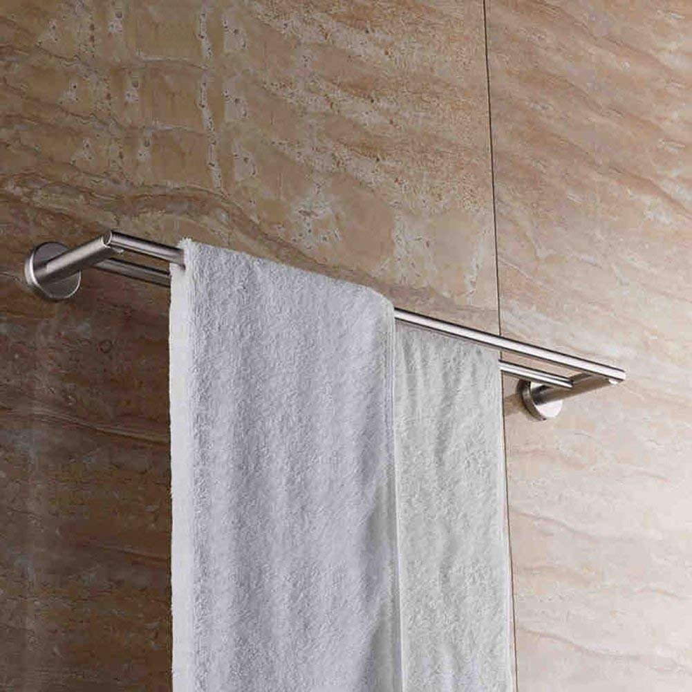 EQEQ Towel Rack Towel Rack/Stainless Steel Thickened Double Towel Rail Hanging Rod/Bathroom Towel Rack/Long Trailer Towel/Toilet Trailer