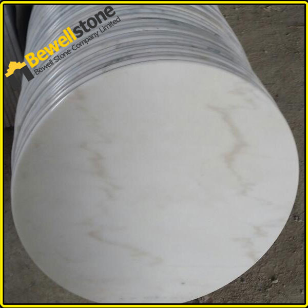 Prefabricated China Carrara White Round Marble Table Tops