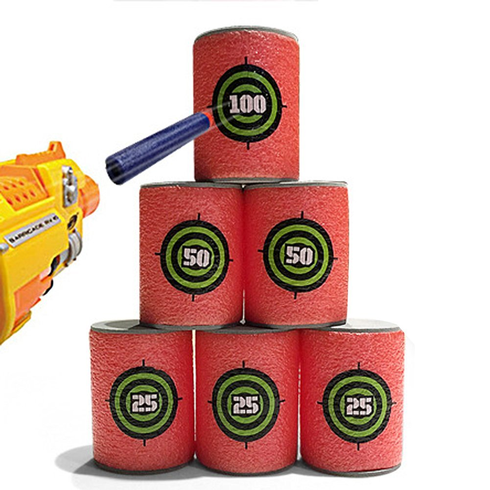PD Mini EVA Foam Shooting Score Target 25 50 100 Points for Nerf Darts Shoot Game 6 Pcs / Set Color Red 5 Sets
