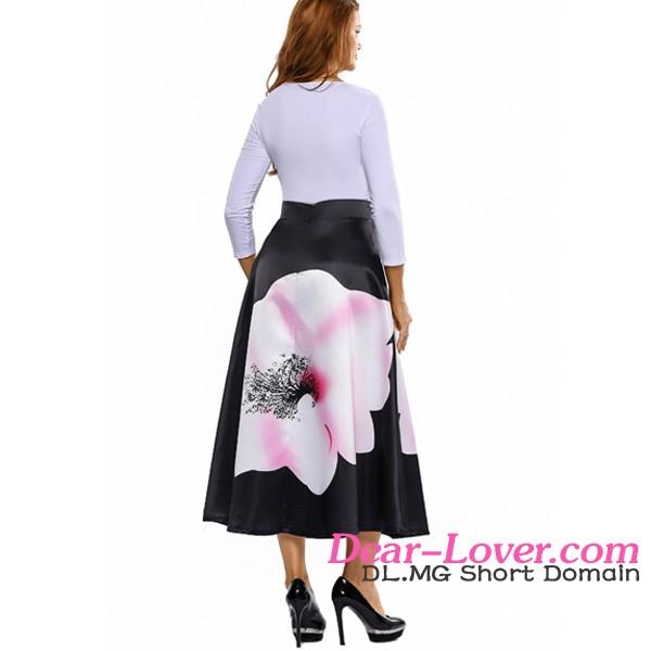 4e1cba90a5 Alta moda elegante flor impresión alta cintura maxi falda Falda larga