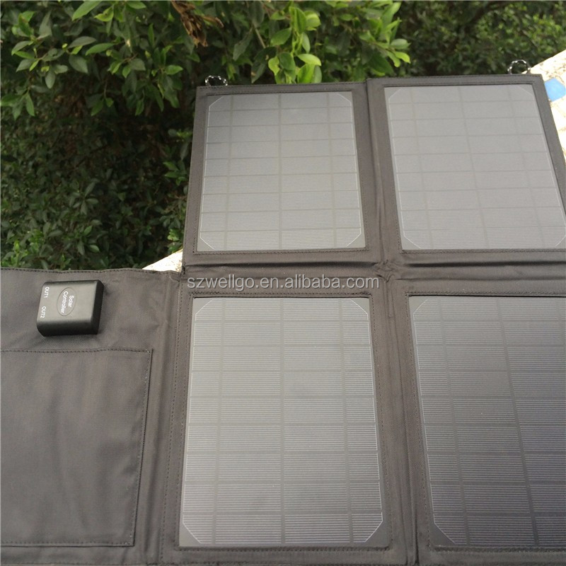 18V 20w Folding solar panel kit Foldable solar powered charging case bag for mobile Camping Travel solar Panel charger