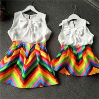 New Summer Family Clothing Set Matching Mother Daughter Clothes Outfits Mom and Daughter Dress Bow Vest Striped Dresses