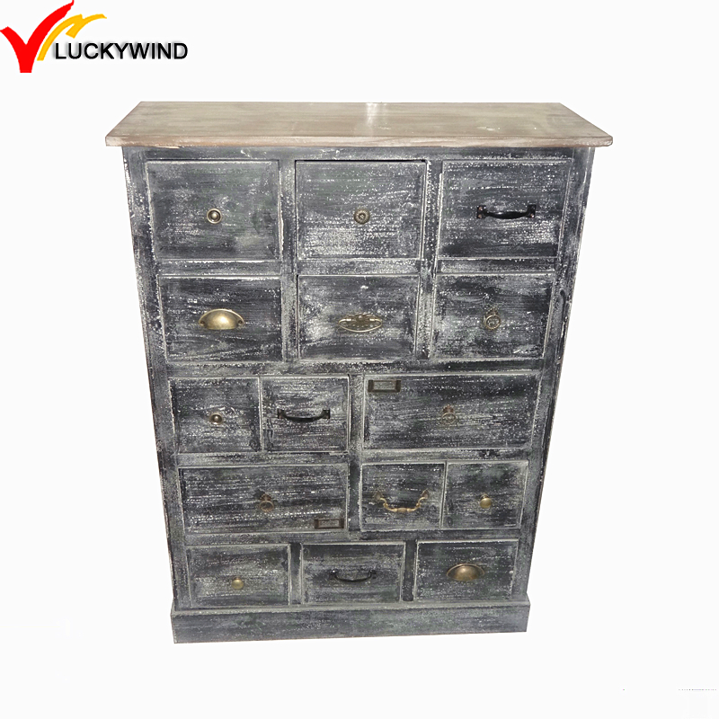 Black Wood Chinese Antique Reproduction Furniture Cabinet