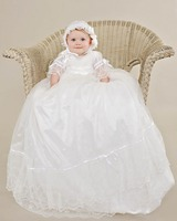 Stunning Vestido dama de honra Sheer Lace Appliques Soft Ruffles Baby Girl Long Christening Gowns Baptism Frock With Bow
