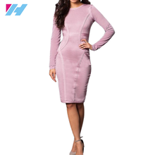 Online product selling websites long sleeve spandex knee-length bodycon dress