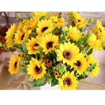 Artificial sunflower bouquet 7 flowers per bunch beauty fake artificial sunflower bouquet 7 flowers per bunch beauty fake sunflower silk flower bouquet for decoration mightylinksfo