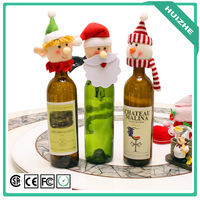 2017 new OEM design red Christmas mini hat wine bottle decoration