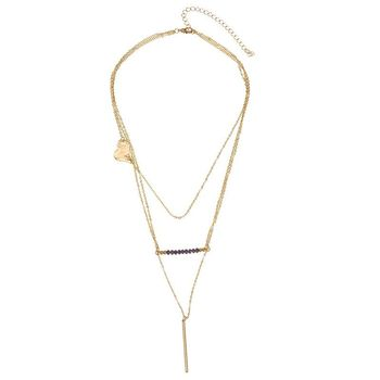 2019 Gold Plated Triple Layer Sideway Heart Crystal Bar Pendant Thin Chain Necklace Triple Layers Long Necklace