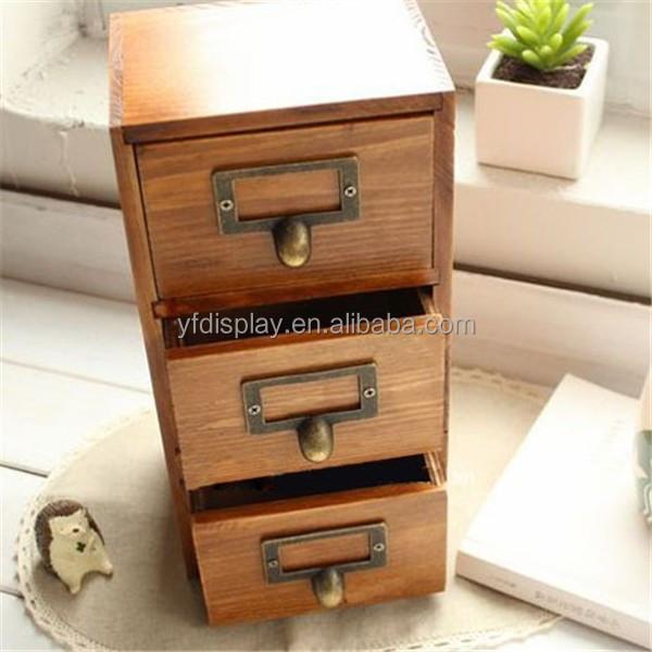 En bois bureau organisateur avec tiroirs bo te de rangement pour carte posta - Rangement cartes postales ...