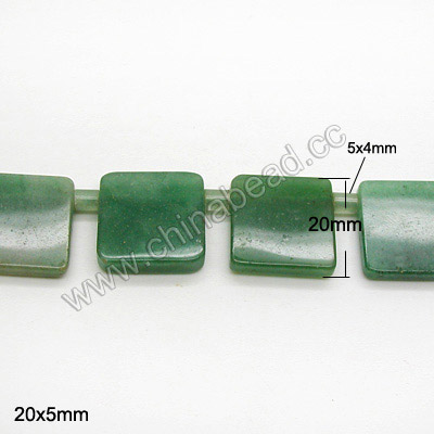 Natural flat square green aventurine tube stone beads