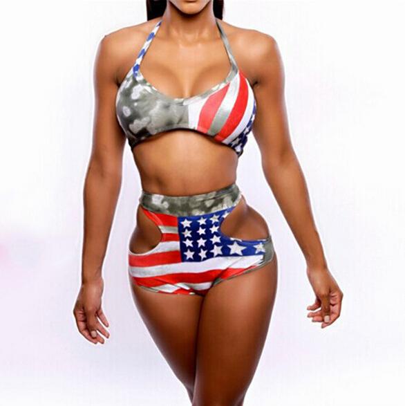 9234dd5dfdf2e Get Quotations · 2015 large bust women fat bikini plus size high waist  swimsuit striped USA flag beach wear