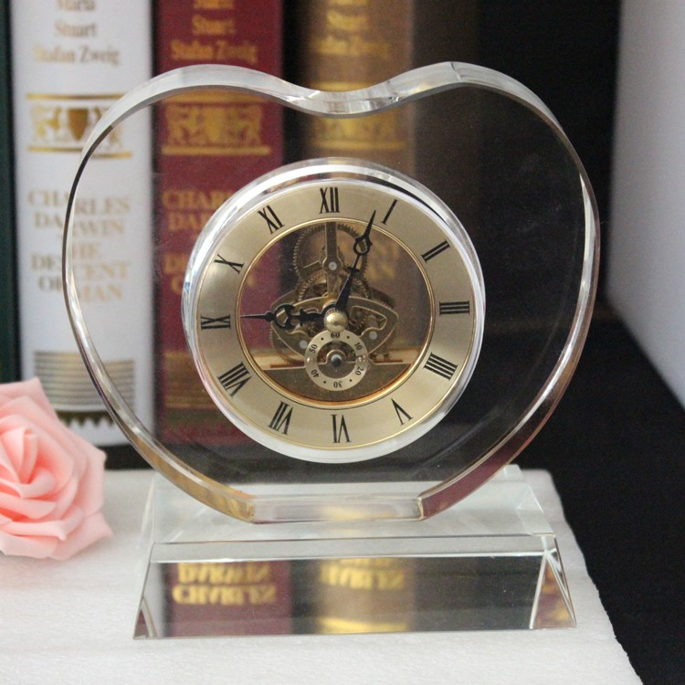 Unique Crystal Heart Shaped luxury Desk Clock for decorate