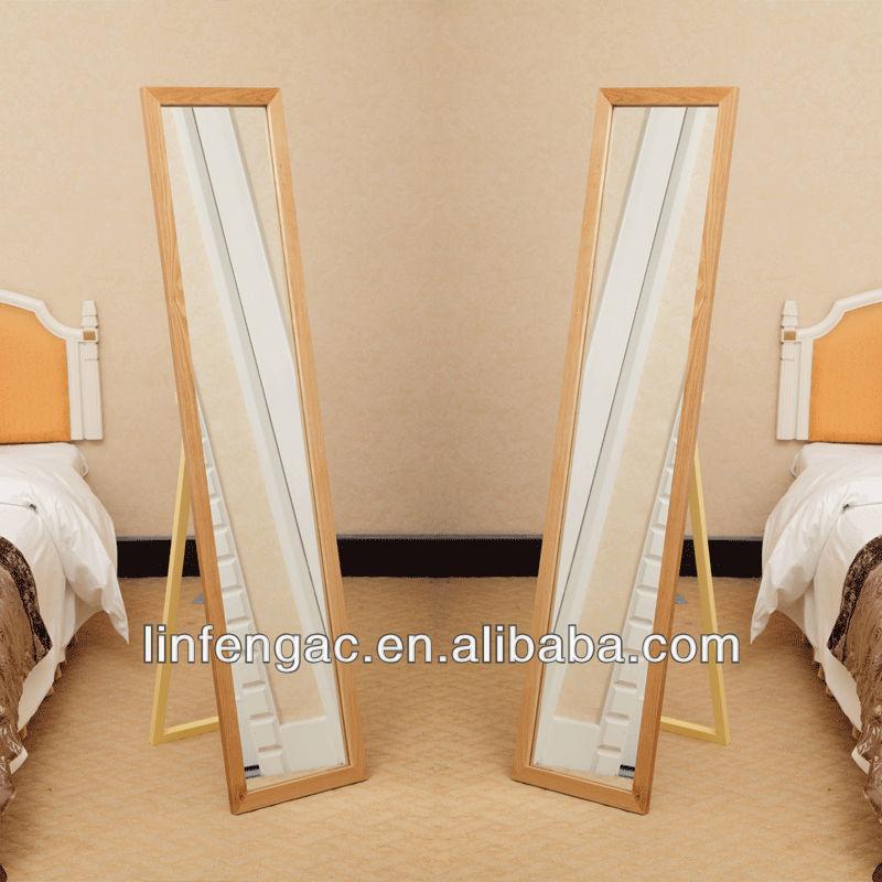 Walnut Veneer Wood Frame Floor Mirror
